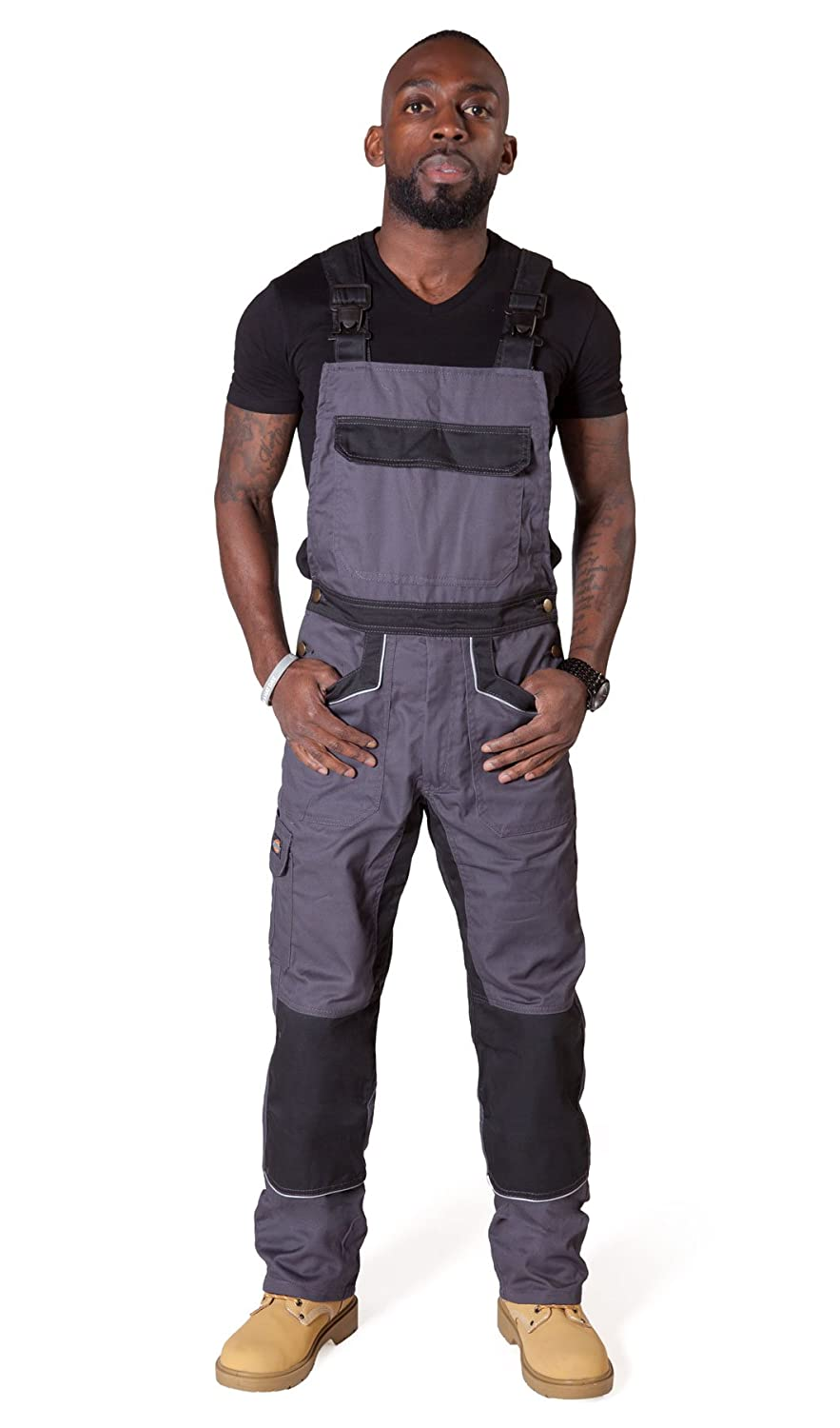 Dickies - Bib and Brace Overalls - Grey / Black