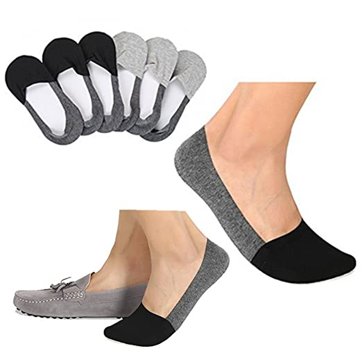 d43b9d9e3e9e Image Unavailable. Image not available for. Color: Lovomo Mens No Show  Socks Non-Slip Grips Casual Low Cut Boat Sock 6 Pack