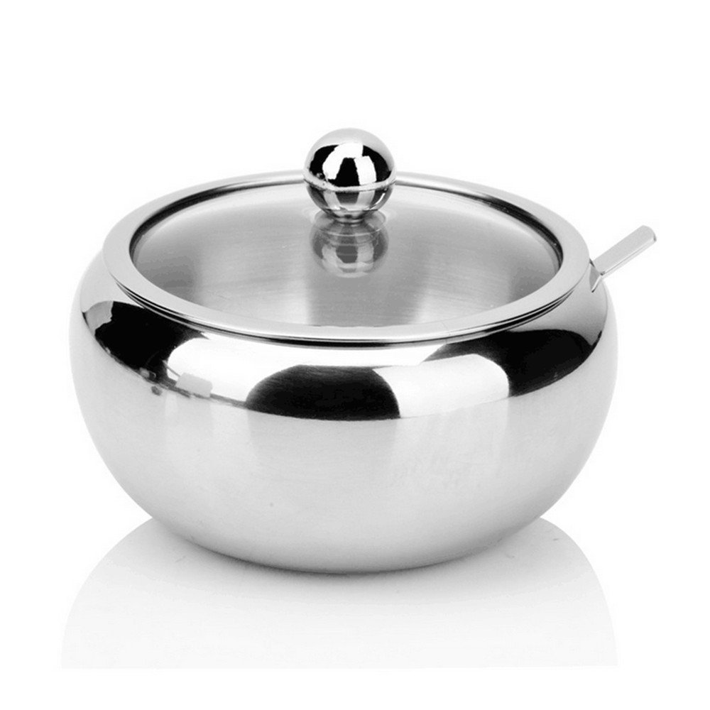 Sissiangle Sugar Bowl, Stainless Steel Sugar Bowl with Toughed Glass Lid (for clearly recognize volume) and Sugar Spoon, Drum Shape, 12.7 ouces (560 Milliliter)
