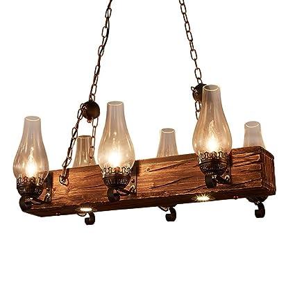Candelabro Colgante Luz Lámpara Retro Barco De Hierro Interiores De Madera Interfaz E14 Lámpara Para Pasillo