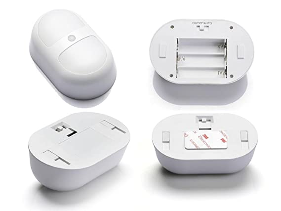 GOESWELL blanco LED con sensor de movimiento luz nocturna de pared camino de luz ideal para cuartos de baño cuarto de lavandería gabinetes de camino para ...