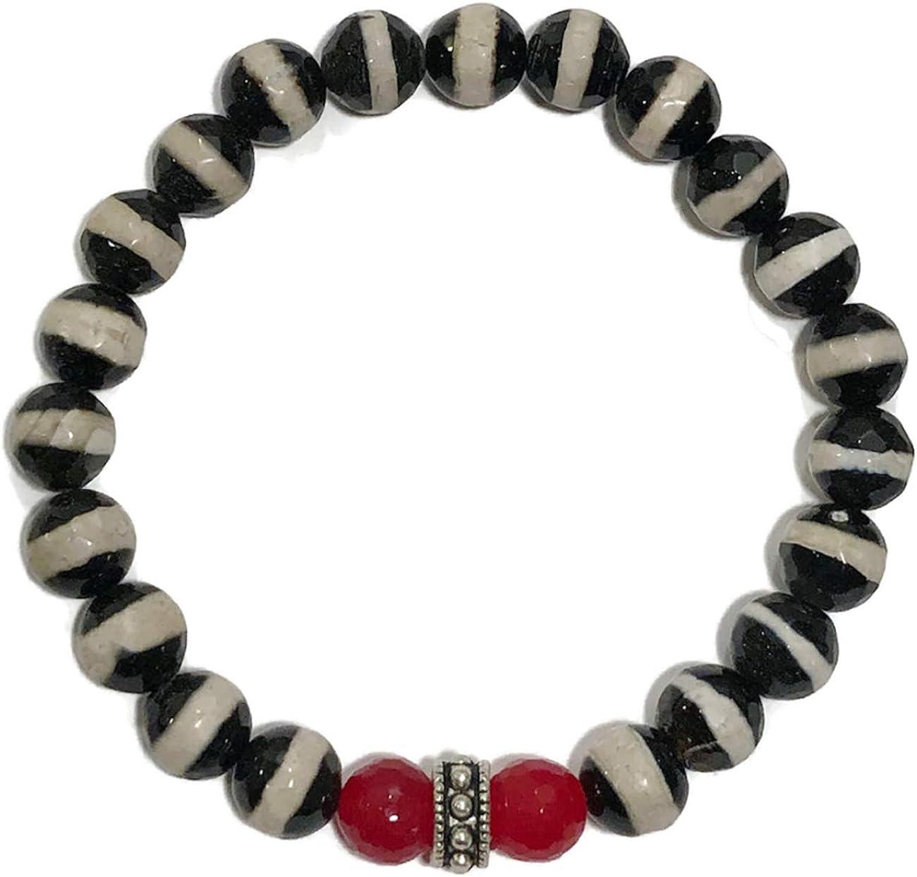 Chakra Yoga Reiki Healing Energy Zen Meditation Jewelry Good Luck: Tibetan dZi Agate Wellness Self-Care Bracelets Red Jade KarmaArm Lucky Bracelet