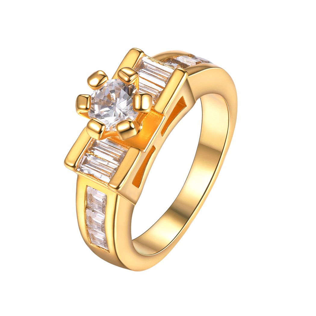 18K Gold Plated 6 Prong Setting CZ Wedding Engagement Band Ring For Women Size 6-10 Suplight Jewelry S-LR954K