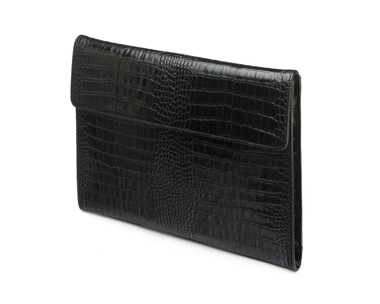 SAGEBROWN Black Croc Envelope Folder