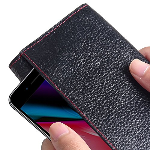Apple iPhone 8 Case, Leather Case, Pouch, Holster, Wallet Case, Protective Case, Phone Case - Leather Continental Wallet Case (Black Floater Pattern/Red Stitch) by Pdair