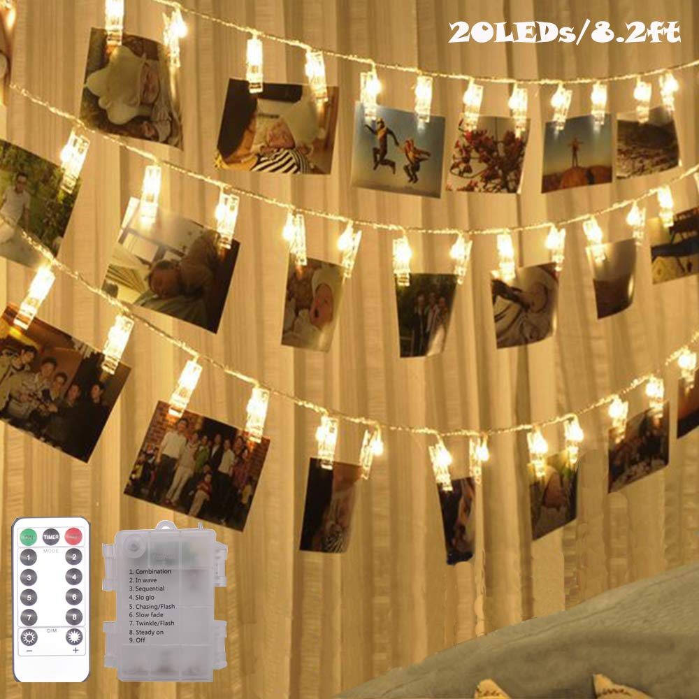 20 LED Photo Clip Fairy String Lights Indoor Outdoor Battery Box Powered Remote Control 8 Modes Timer Ideal Gift for Hanging Pictures Cards Artwork Memos in Dorm Bedroom Wall Decoration Warm White