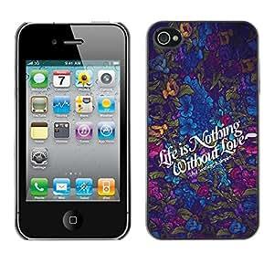 YiPhone /// Prima de resorte delgada de la cubierta del caso de Shell Armor - Life is Nothing without Lovw; - Apple iPhone 4 / 4S