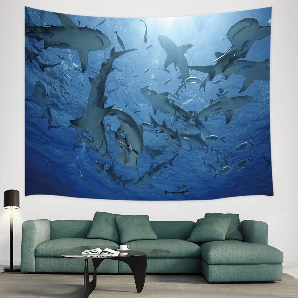 JAWO Ocean Animal Tapestry, A Group of Lemon Sharks Under The Water Wall Tapestry, Tapestry Wall Hanging for Bedroom Living Room Dorm 71X60Inches