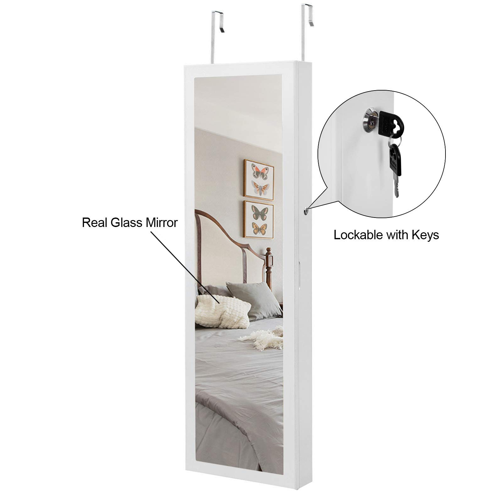 SONGMICS 6 LEDs Mirror Jewelry Cabinet Lockable Wall/Door Mounted Jewelry Armoire Organizer with Mirror, 2 Drawers, Pure White UJJC93W by SONGMICS (Image #7)