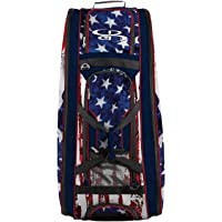 """Boombah Beast Rolling Bat Bag 2.0-40"""" x 14"""" x 13"""" - USA Stars & Stripes Navy/Red/White - Holds 8 Bats, Glove and Shoe…"""