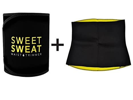3ab662d733d Buy SWEET SWEAT WAIST TRIMMER® Hot Waist Shaper Belt Instant Slim Look Belt  for Men and Women Pack of 2 Online at Low Prices in India - Amazon.in