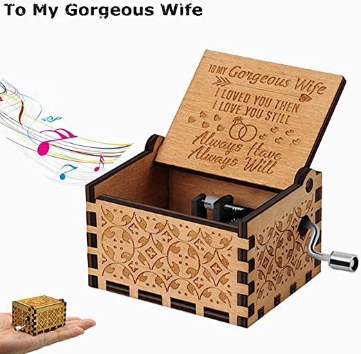 Engraved Vintage Handmade Musical Boxes for Anniversary Valentines Gifts Weoto to My Wife Wood Music Box