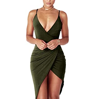 YS.DAMAI Womens Sexy V Neck Spaghetti Strap Bodycon Sleeveless Wrap Dress Front Slit Bandage