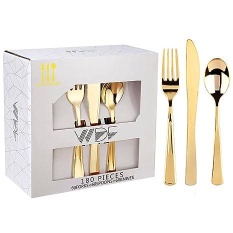 180 piezas desechables plástico metálico brillante oro cubertería, cubertería acero inoxidable 60 tenedores, cuchillos