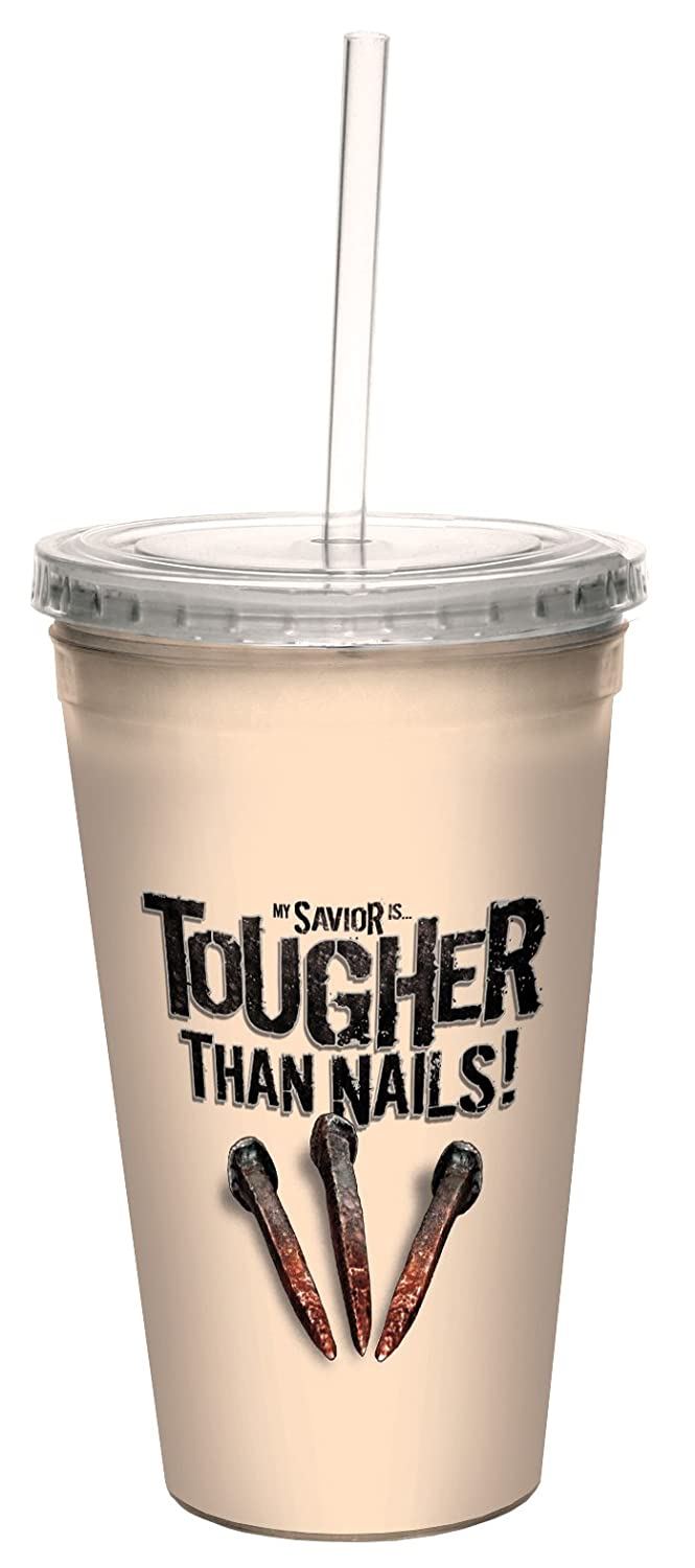 16-Ounce Revelations 1:18 Artful Traveler Double-Walled Cool Cup with Reusable Straw Tree-Free Greetings cc34359 Tougher Than Nails