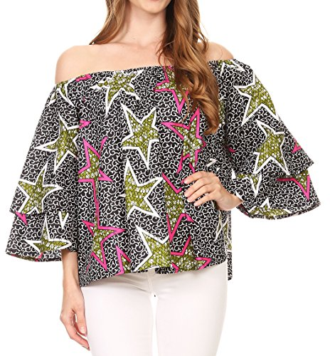 Shell Neck Print Drape (Sakkas DRT166 - Omari Off-Shoulder Bell Sleeve Blouse Top Relax Fit Ankara African Wax - Black Multi/Stars - OS)