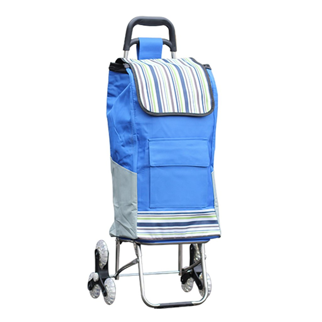 Shopping Carts, Stainless Steel Luggage Trolley Lightweight Folding with Climbing Stairs Elderly, Bearing About 40KG (Color : Blue, Size : 43101cm)