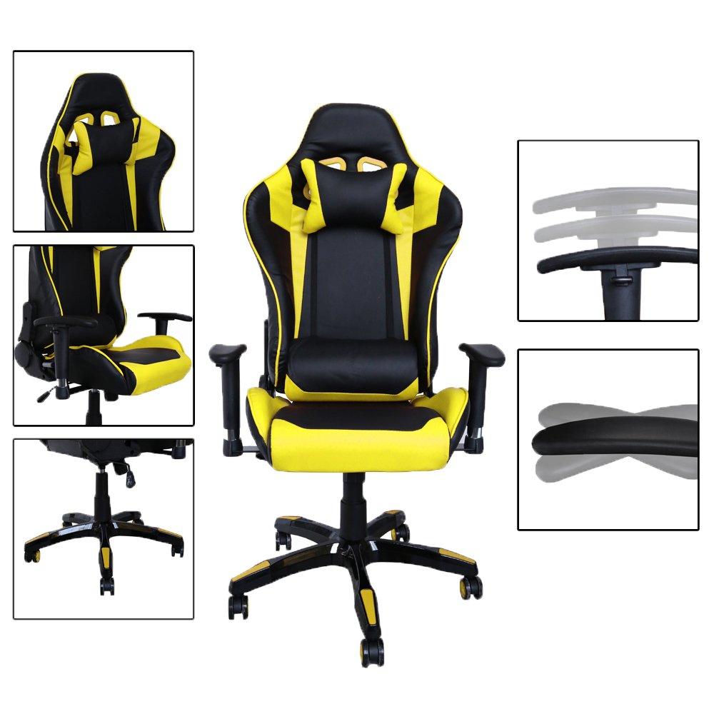 huigou HG Silla Giratoria De Oficina Gaming Chair Apoyabrazos Acolchados Silla Racing (Negro/Amarillo): Amazon.es: Hogar