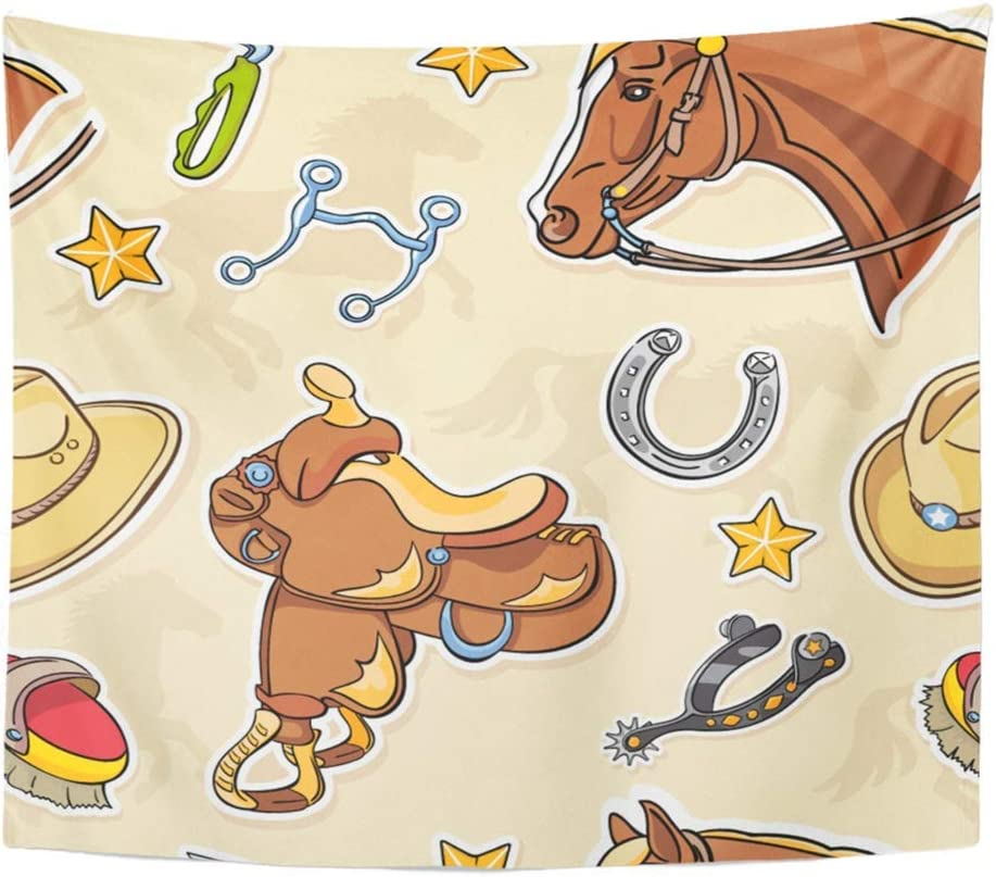 Tapicería Tela de poliéster Estampado Decoración para el hogar Cowboy Western Riding Tack Silla de montar Cabeza de caballo Espuelas Accesorios Colgante de pared Tapiz Dormitorio Sala de estar Dormito