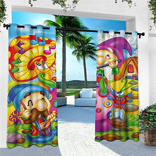 leinuoyi Kids, Outdoor Curtain Wall, Cartoon Style Singing Elves with Mushroom Playing Flute Musical Cheerful Illustration, for Patio Furniture W84 x L96 Inch Multicolor ()