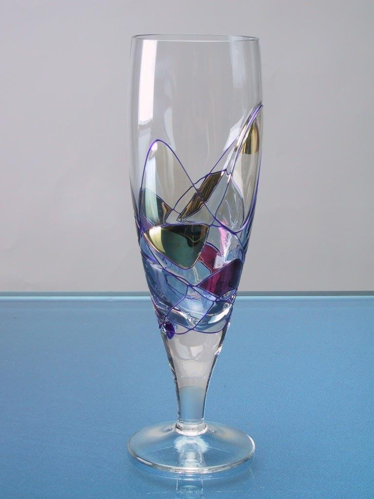 Set Of Four (4) - Romanian Crystal Barware - Cobalt Blue Swirl/Stained Glass Pattern - Milano Design - 10 Oz Beer Pilsner Glassware