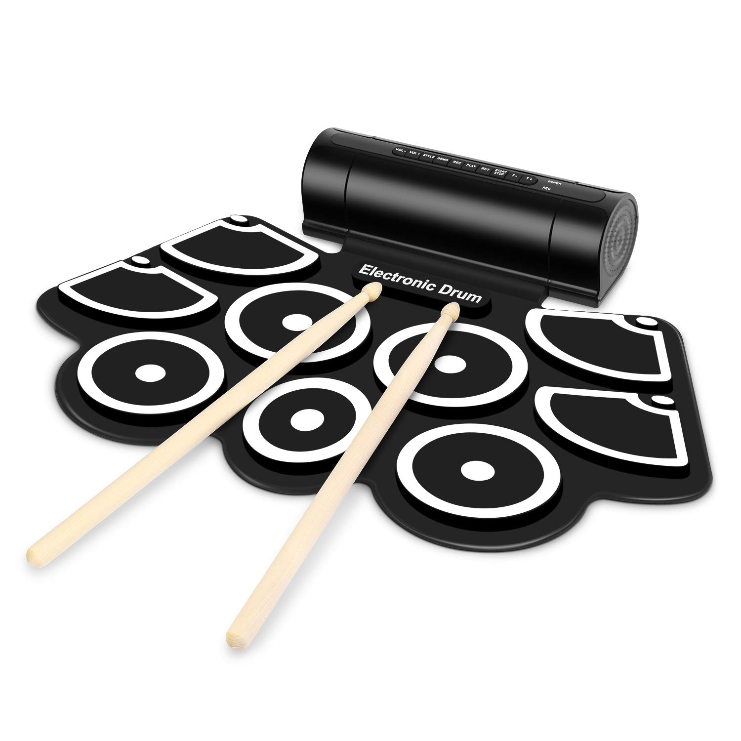 Flexzion Digital Electronic Roll Up Drum Pad Set Kit - Support MIDI Output DTXMania Games, Portable Silicone Sheet 9 Pads with Drum Stick, Foot Pedal Switch, Headphone Jack, USB Charging Audio MP3