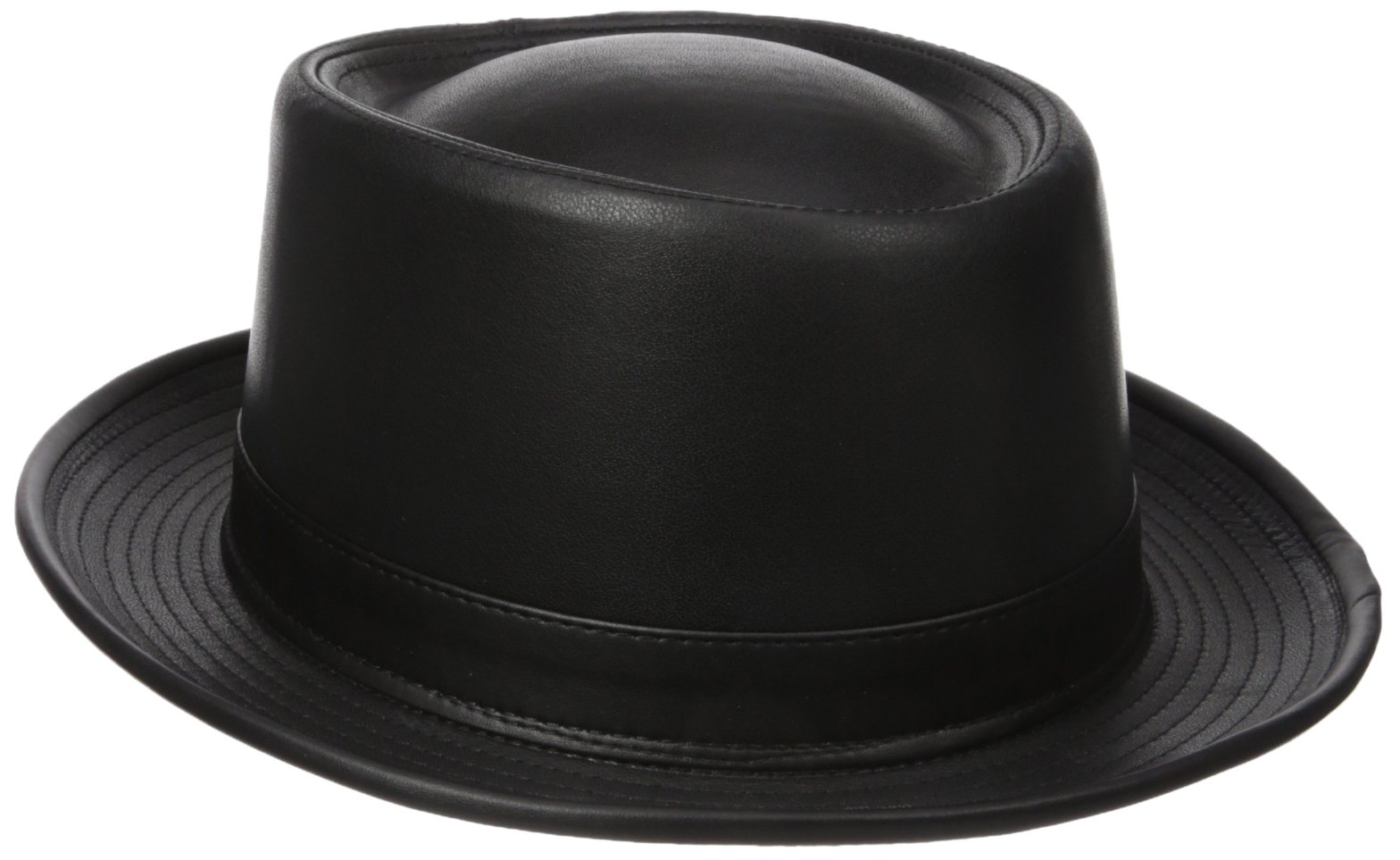 Henschel Men's Smooth Garment Leather Porkpie Hat With Satin Lining, Black, Large by Henschel