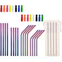 "Short Metal Straws Reusable 5.5"" 6.5"" 6mm Bent Straight(Rainbow)"