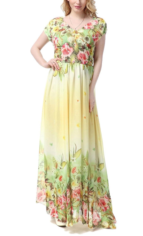 Brinny Damen Sommer Kleid Elegante Cocktail Party Floral Kleider Maxi ärmellosen Chiffon Abendkleid Strandkleid EU 36-50