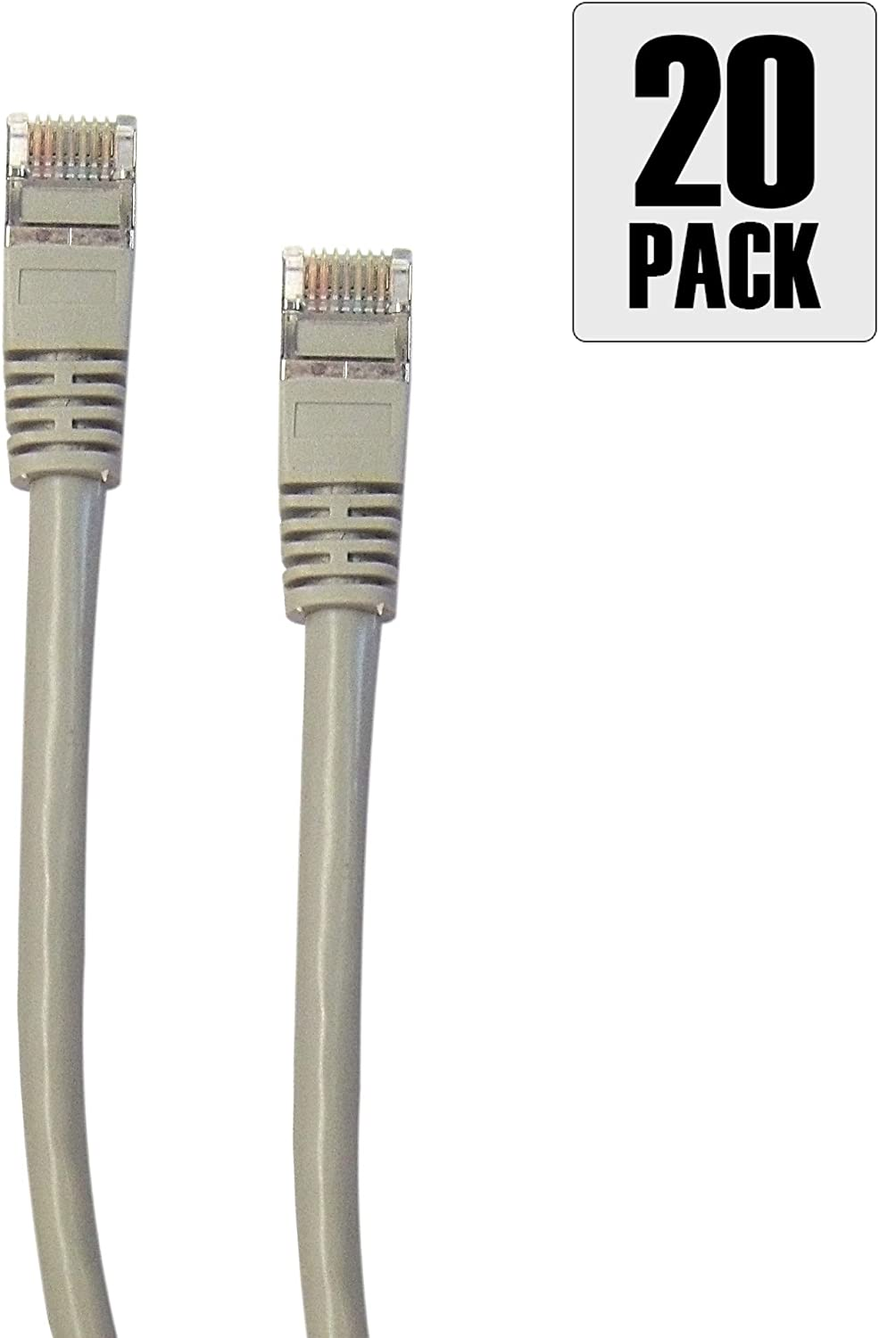 by Konnekta Cable 3 Foot Pack of 20 Snagless//Molded Boot Shielded Cat5e Gray Ethernet Cable