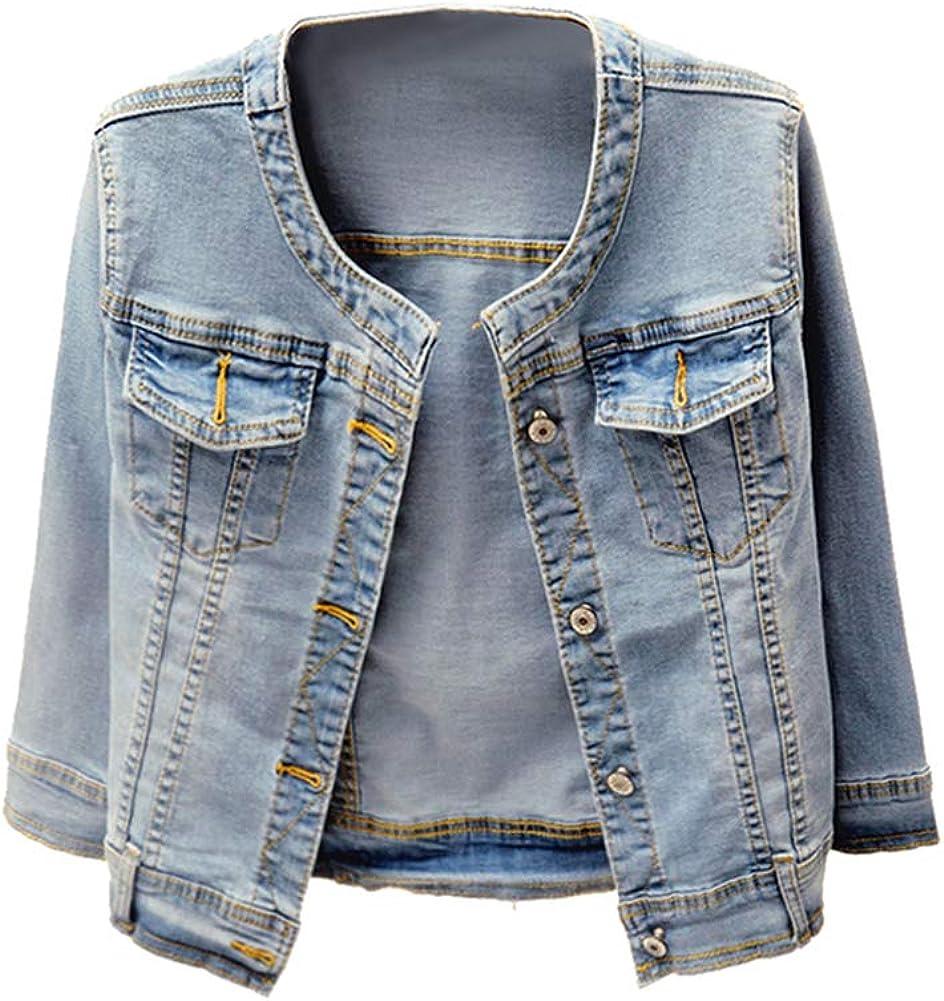 Only Faith Womens Round Neck 3//4 Sleeve Short Denim Shawl Jacket
