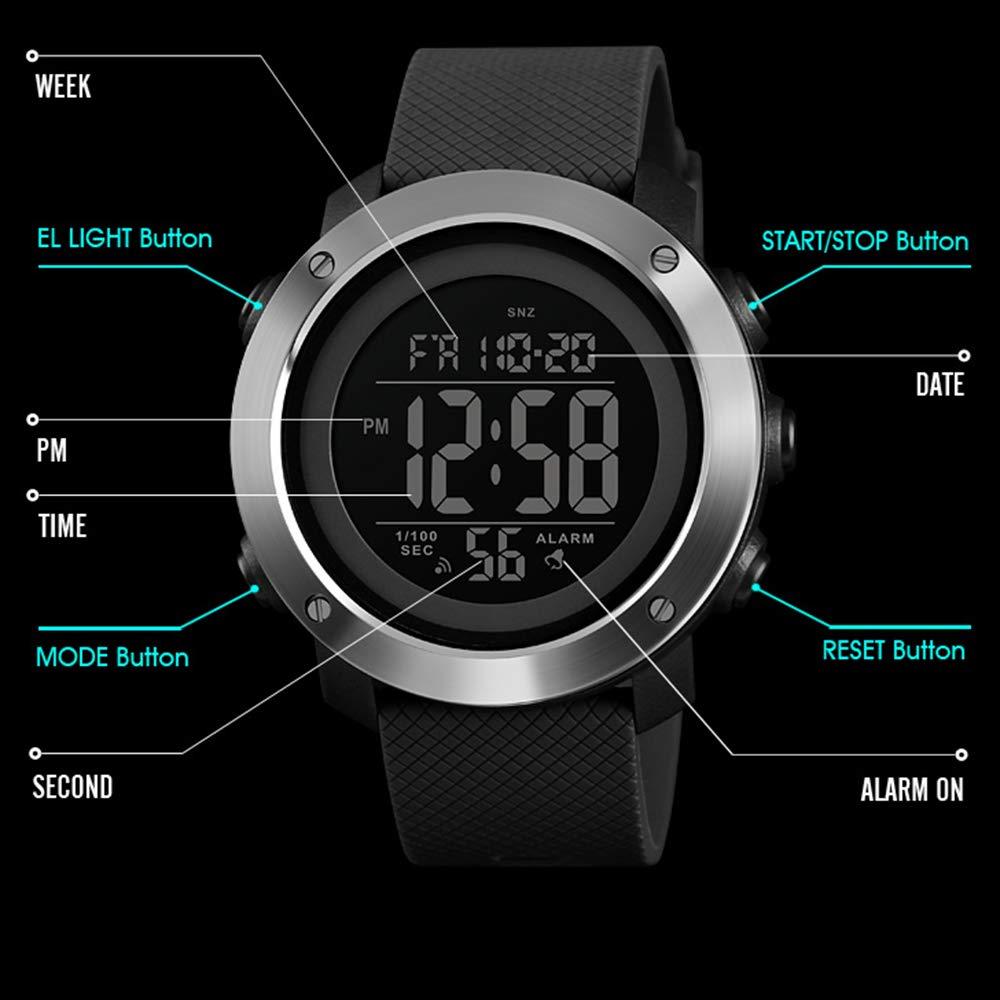Reloj deportivo para hombres Reloj digital con pantalla grande LED Retroiluminación facial militar Impermeable Anillo de acero negro: Amazon.es: Relojes
