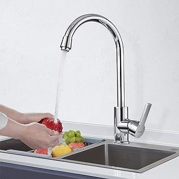 BONADE Grifo Cocina 360/° Ca/ño Giratorio Grifo Mezclador Cocina para Agua Fr/ía y Caliente Lat/ón Cromado Grifo de Cocina Forma Cl/ásica