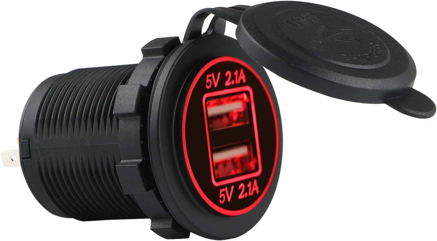 5 V chargeur avec prise USB et indicateur /à LED rouge bateau SUV pour voiture et moto 2,1 A /étanche 12 // 24 V JTENG Prise USB pour voiture double 2 ports etc 36 W