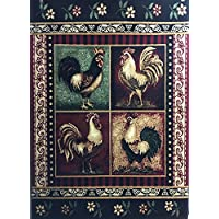 Lodge Rooster Style Area Rug 379 (5 Feet 2 Inch X 7 Feet 3 Inch)