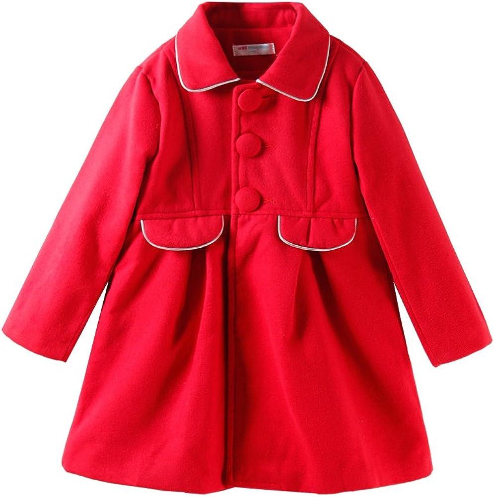 UWESPRING Kids Boys Dress Coat Wool Hooded Trench Winter Fleece Outerwear Jacket