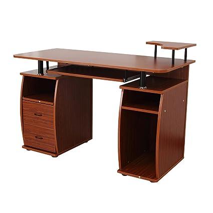 Mesa de oficina de Homcom para ordenador, escritorio de sobremesa, mesa de trabajo de