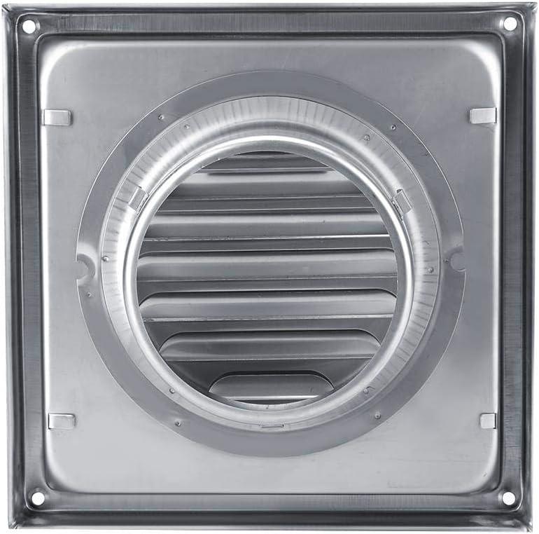 Ventilador de pared, 100 mm Ventilador de acero inoxidable Square Secador de secadora Extractor Ventilador para baño Oficina Cocina Ventilación