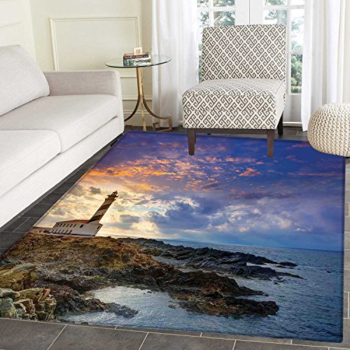 Lighthouse Decor Area Rug Carpet Cap de Favaritx Sunset Lighthouse Cape in Mahon at Balearic Islands of Spain Coast Living Dining Room Bedroom Hallway Office Carpet 3'x5' by Carl Morris