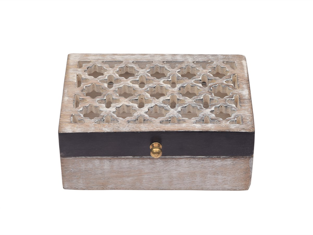 storeindya, Handmade Wooden Jewelry Keepsake Storage Organizer Box with Brass Knob - Intricate Wood Work Carving - Trinket Holder for Women Men Girls (Mughal Jali Wood Collection)
