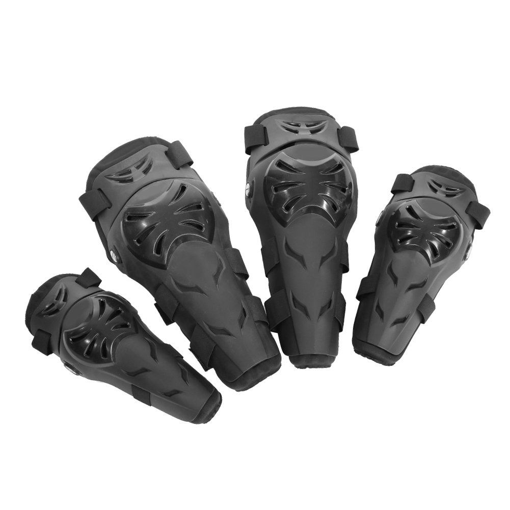 Qiilu 4 pcs Motorcycle Motocross Cycling Elbow and Knee Pads Protection Shin Guards Body Armor Set Black For Adults(Black)