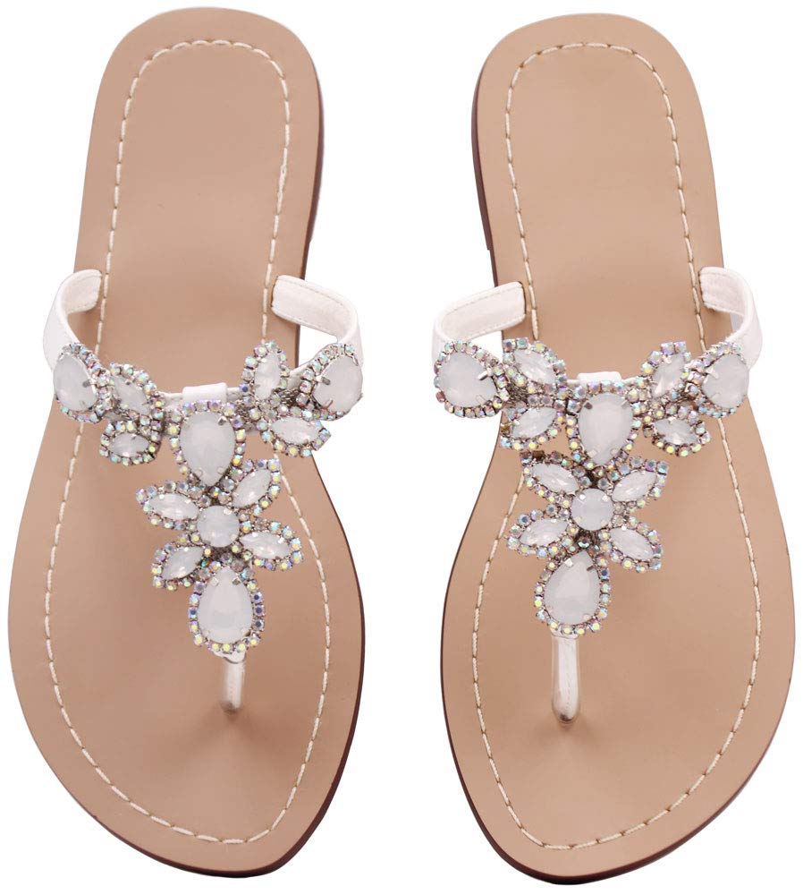 Hinyyrin Thong Sandals for Women Jeweled Sandals Flip Flops White Bride Size 8