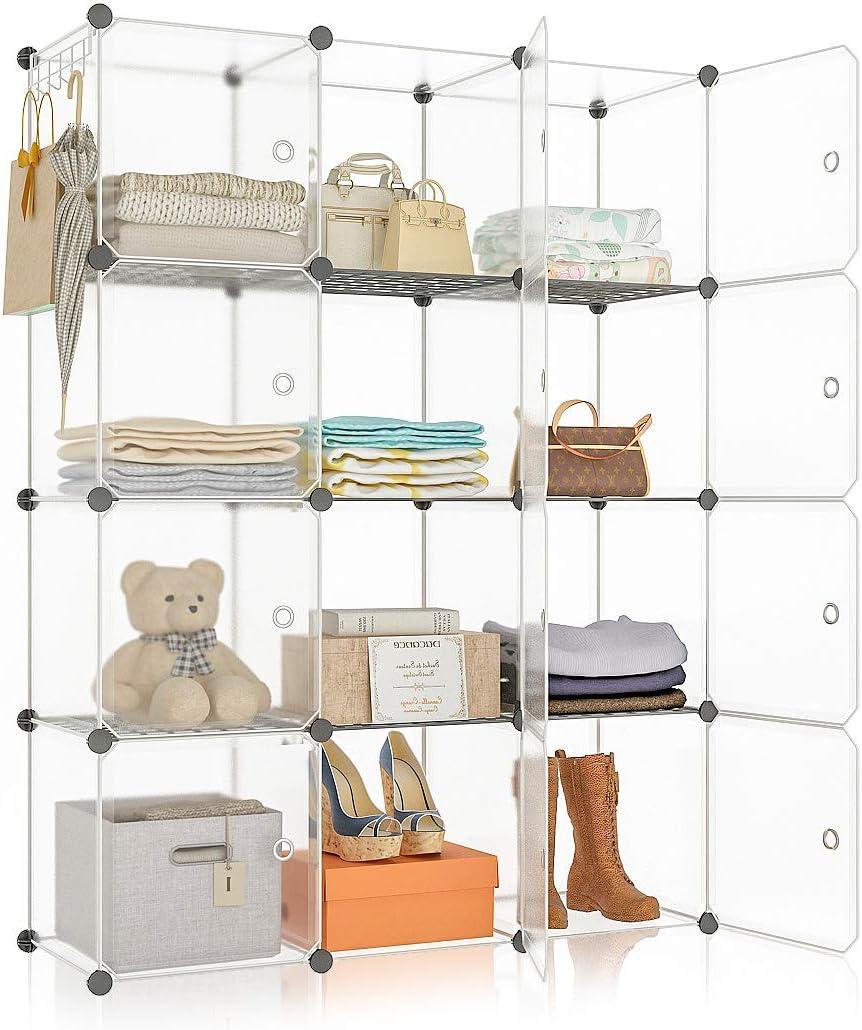 YOZO Portable Cube Storage Modular Wardrobe Clothes Closet, Bedroom Storage Shelves Cube Organizer, Polyresin Bookshelf Units Multifunction Dresser Cabinet DIY Furniture, 12 Cubes