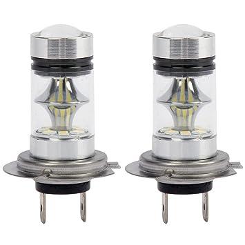 WOVELOT 1 par de Bombilla LED H7 de Alto Voltaje Luz de Niebla del Coche 100W 20LED Faros de la lampara 6000K Blanco: Amazon.es: Coche y moto