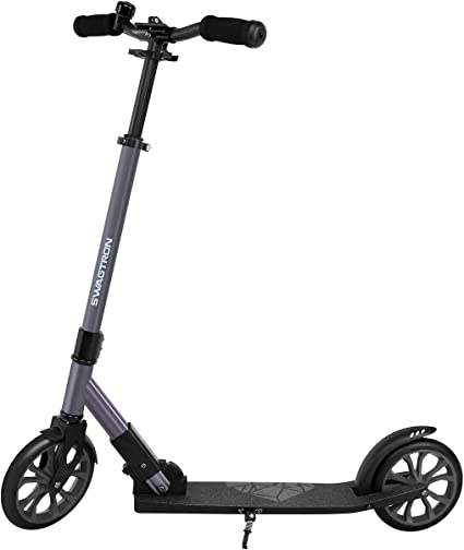 "Swagtron Folding Kick Scooter with Kickstand for Kids & Teens, XL 8"" Big Wheels & ABEC-9 Bearings Lightweight, Height-Adjustable Stem, 220lb Rider Capacity best scooters for women"