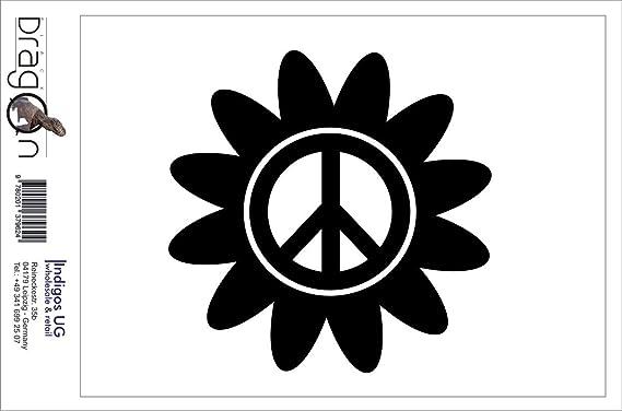 Indigos Ug Aufkleber Autoaufkleber Jdm Die Cut Peace Blume Symbol Sticker Auto Truck Fenster Sticker Schwarz 88mm X88mm Auto