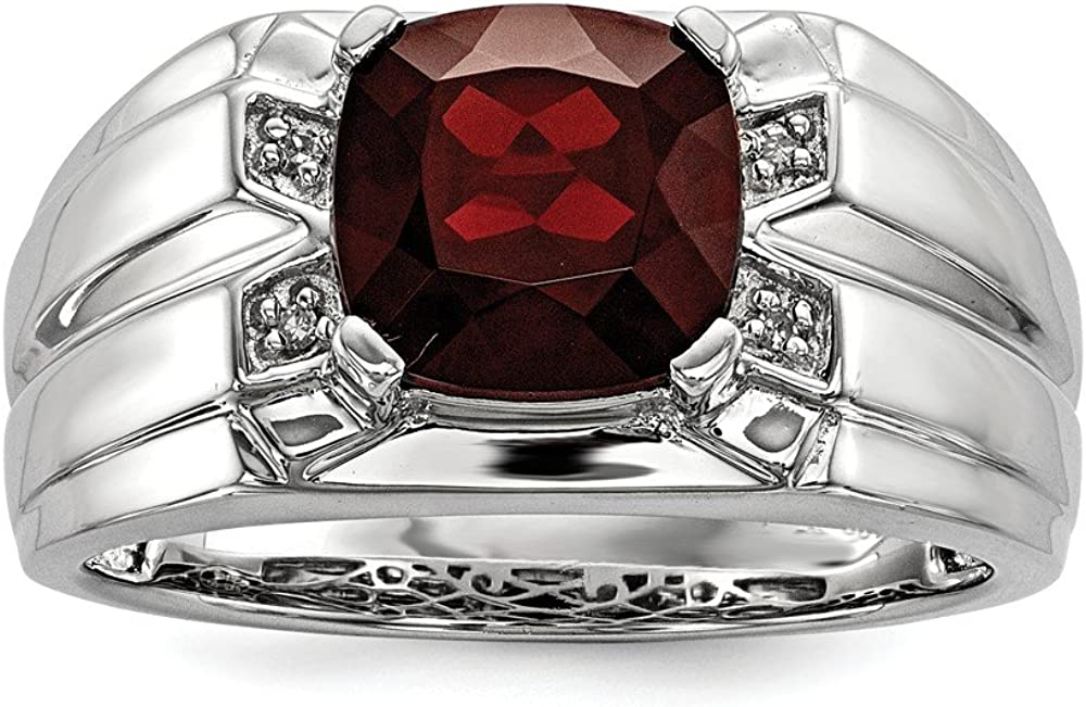 Brilliant Bijou Solid .925 Sterling Silver Garnet /& Diamond Square Mens Ring
