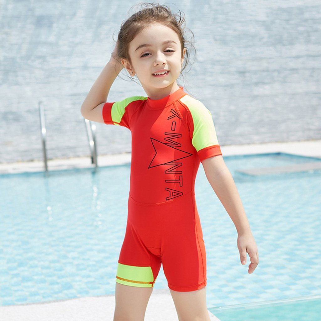 Kids Short Sleeves Swimwear UPF 50+ Gogokids Boys Girls One Piece Swimsuit