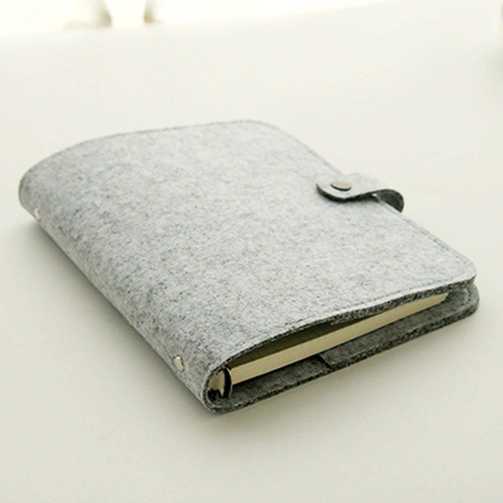 Yakri A6size 6anello magnetico fibbia feltro di vibrazione notebook ricaricabile con tasca portapenne,80fogli refill. TPN110, Dark Grey A6, A6 Size Umei TPN110-1