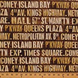 Cotton Tim Holtz New York Cities Subway Signs Neutral Cotton Fabric Print by the Yard PWTH005.NEUTR